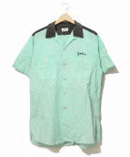VINTAGE(ヴィンテージ/ビンテージ)の古着「[古着]ヴィンテージボーリングシャツ」|ミント×ブラック
