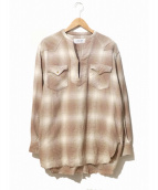 JOHN MASON SMITH(ジョンメイソンスミス)の古着「カットオフプルオーバーチェックシャツ」 ベージュ