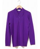 JOHN SMEDLEY(ジョンスメドレ)の古着「L/Sニットポロシャツ」|パープル