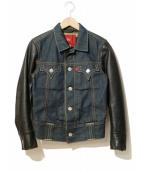 LEVIS RED(リーバイスレッド)の古着「袖レザーデニムジャケット」|インディゴ