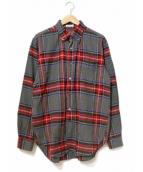 Engineered Garments(エンジニアードガーメン)の古着「bd shirt brushed plaid/チェックシャツ」 レッド×グレー