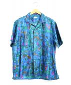 NAISSANCE(ネサーンス)の古着「オープンカラーパターンシャツ」|ブルー×グリーン