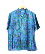 naissance(ネサーンズ)の古着「オープンカラーパターンシャツ」 ブルー×グリーン