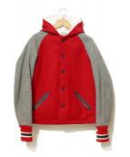 SKOOKUM(スクーカム)の古着「[古着]ウールフーデットスタジャン」|グレー×レッド