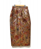 AKIRA NAKA(アキラ ナカ)の古着「パターンナロースカート」 エンジ