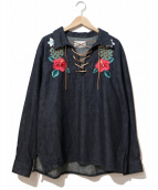 Black Weirdos(ブラック ウィドゥ)の古着「LaceUp Denim Shirt」 インディゴ