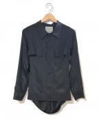 YOHJI YAMAMOTO(ヨウジヤマモト)の古着「バックプリーツドレープシャツ」|ブラック