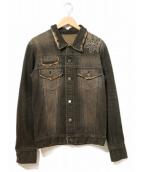 david olive accessories(デイビッドオリーヴアクセサリー)の古着「装飾デニムジャケット」|ブラック