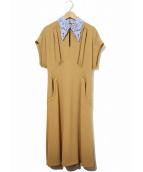 mame kurogouchi(マメ クロゴウチ)の古着「Silk Lace Collar A Line Dress」|ベージュ