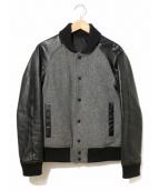 LITHIUM HOMME(リチウム オム)の古着「袖レザースタジャン」|グレー