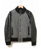 LITHIUM HOMME(リチウムオム・ファム)の古着「袖レザースタジャン」|グレー