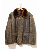 VINTAGE(ヴィンテージ/ビンテージ)の古着「[古着]ヴィンテージ襟ボアレザーカーコート」|ブラウン