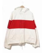 POLO RALPH LAUREN(ポロラルフローレン)の古着「60/40クロスボーダーフードジャケット」 ホワイト×レッド