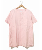 Engineered Garments(エンジニアードガーメンツ)の古着「S/Sノーカラーシャツ」|ピンク