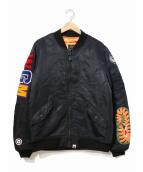 A BATHING APE(アベイシングエイプ)の古着「シャークMA-1ジャケット」|ブラック