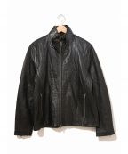 LIUGOO LEATHERS(リューグーレザーズ)の古着「襟ボアレザージャケット」 ブラック