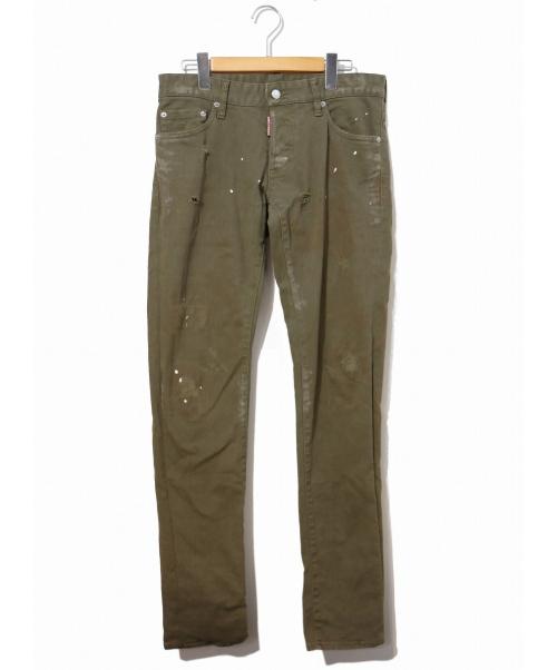DSQUARED2(ディースクエアード)DSQUARED2 (ディースクエアード) ダメージ加工デニムパンツ オリーブ サイズ:44表記の古着・服飾アイテム
