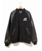 hilton active apparel(ヒルトン)の古着「 [古着]袖レザースタジャン」|ブラック