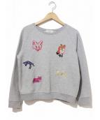 MAISON KITSUNE(メゾンキツネ)の古着「キツネアイコン刺繍スウェット」|グレー