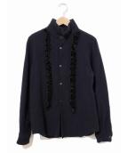 COMME des GARCONS COMME des GARCONS(コムデギャルソンコムデギャルソン)の古着「縮絨ベロアフリルウールシャツ」|ネイビー