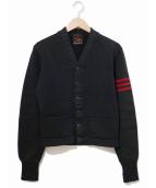 VINTAGE(ヴィンテージ/ビンテージ)の古着「[古着]レタードカーディガン」|ブラック