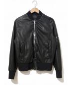 NEIL BARRETT(ニールバレット)の古着「レザーMA-1ボンバージャケット」|ブラック