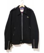 JUNYA WATANABE MAN(ジュンヤワタナベ マン)の古着「ウール縮絨ライダースジャケット」|ブラック