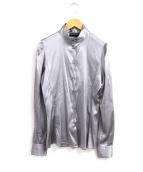 EMPORIO ARMANI(エンポリオアルマーニ)の古着「スタンドカラーシルクシャツ」|グレー