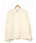 MARGARET HOWELL(マーガレットハウエル)の古着「ノーカラーシャツ」|ホワイト