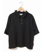 MARGARET HOWELL(マーガレットハウエル)の古着「シルクウールポロカラーシャツ」|ブラック