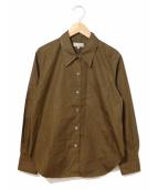 MARGARET HOWELL(マーガレットハウエル)の古着「ファインコットンポプリンシャツ」|カーキ