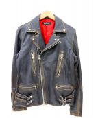 JACKROSE(ジャックローズ)の古着「ラムレザーダブルライダースジャケット」|ブラック