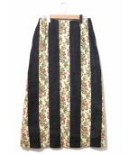 tricot COMME des GARCONS(トリココムデギャルソン)の古着「デニム切替スカート」|ブラック