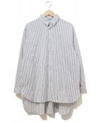 Luis(ルイス)の古着「ビッグダブルカフスストライプシャツ」|ブルー×ホワイト