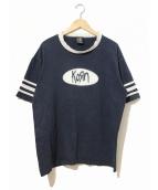 バンドTシャツ(バンドTシャツ)の古着「[古着]90's KORN バンドTシャツ」|ネイビー