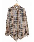6(ROKU) BEAUTY&YOUTH(ロク)の古着「チェックプリントシャツ」|ベージュ