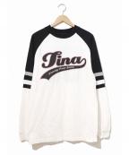 tina turner(ティナターナー)の古着「[古着]90'sアーティストロンTEE」|ホワイト×ブラック