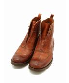 SARTORE(サルトル)の古着「シューレースレスウィングチップブーツ」 ブラウン