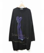 YohjiYamamoto pour homme()の古着「女柄長袖ロングニット」|ブラック