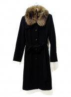 ()の古着「ファーカシミヤ混コート」 ブラック