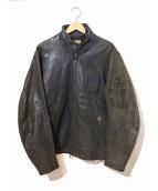 VINTAGE(ヴィンテージ/ビンテージ)の古着「[古着]ヴィンテージシングルライダースジャケット」|グレー
