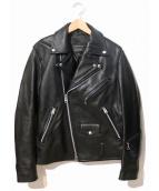 JACKROSE(ジャックローズ)の古着「バックプリントレザーライダースジャケット」|ブラック
