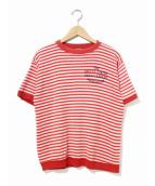 Champion(チャンピオン)の古着「[古着]ヴィンテージS/SボーダースウェットTシャツ」|レッド×ホワイト