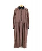 LAURA ASHLEY(ローラアシュレイ)の古着「[古着]レトロ柄ロングブラウスワンピース」|ブラウン