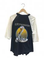 バンドTシャツ(バンドTシャツ)の古着「[古着]WHITE SNAKE80'sラグランバンドTシャツ」|ホワイト×ブラック
