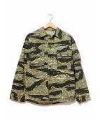 VINTAGE MILITARY(ヴィンテージ ミリタリー)の古着「[古着]タイガーカモストライプジャケット」|カーキ