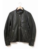 JACKROSE(ジャックローズ)の古着「ゴートレザーシングルライダースジャケット」|ブラック