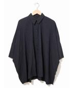MM6(エムエムシックス)の古着「変形ワイドシャツブラウス」|ネイビー