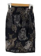 ()の古着「アニマル柄スカート」 ブラック