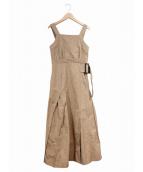 CASA FLINE(カーサフライン)の古着「エプロンフレアワンピース」|ブラウン